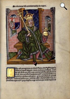 Hunyadi Mátyás király a Thuróczy krónikában (Augsburg, 1488) (Fotó: OSZK)
