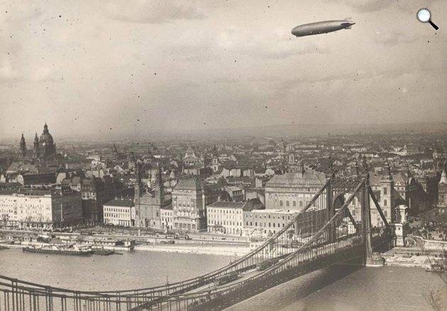 Graf Zeppelin léghajó Budapest felett, 1931 (Fotó: Budapest Anno - Blog)