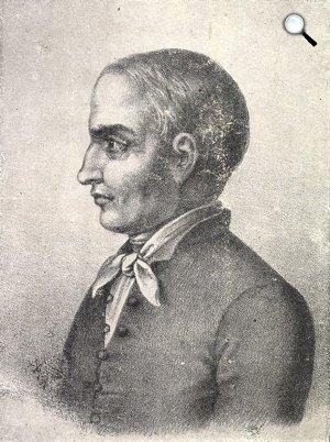 Schöfft Ágoston portréja, Rohn Alajos kőmetszete: Kőrösi Csoma Sándor (1784-1842) portréja, 1846 (Fotó: csoma.mtak.hu)