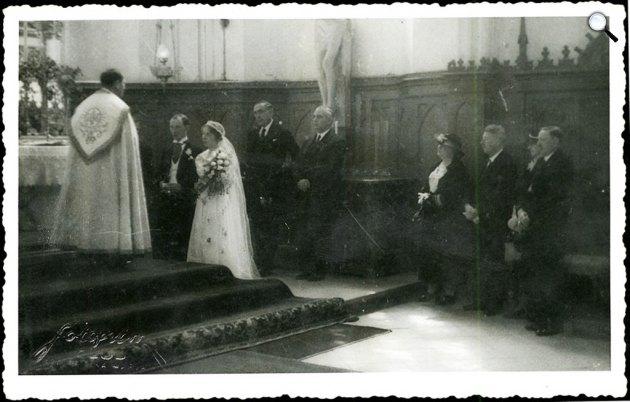 Dsida Jenő (1907-1938) költő és Imbery Melinda (1912-1987) esküvője, Kolozsvár, 1937 (Fotó: Fotofilm Kolozsvár / PIM)