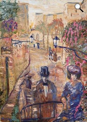 Gulácsy Lajos (1882-1932): Séta a régi olasz városban (olasz kisvárosi utca), 1908-1910 között (Fotó: Virág Judit Galéria)