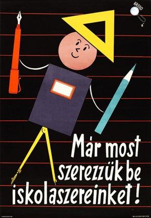 Kassowitz Félix (Kasso) (1907-1983) iskolaszer hirdetés plakátja (Fotó: kArton Galéria)