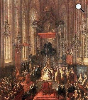Mária Terézia magyar királynővé koronázása 1741. június 25-én a pozsonyi Szent Márton-székesegyházban, 1741 (Fotó: OSZK)