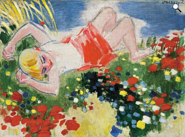 Vaszary János (1867-1939): Kislány a réten, 1930-as évek második fele (Fotó: Virág Judit Galéria)