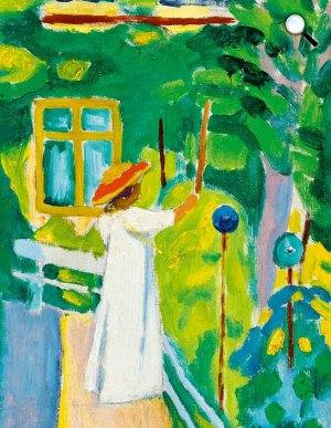 Czigány Dezső: Kalapos nő virágos kertben, 1909 (Fotó: Kieselbach Galéria)