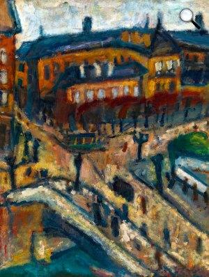 Czóbel Béla: Párizsi részlet (Paysage de Paris; Kilátás a Hôtel Notre Dame ablakából), 1926 (Fotó:  Kieselbach Galéria)