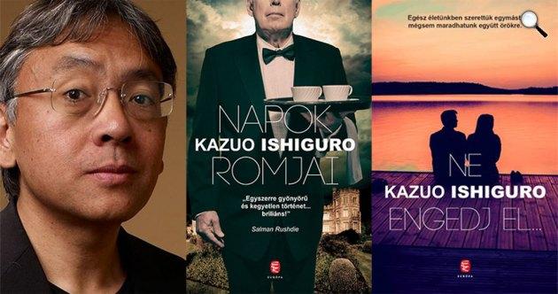 Kazuo Ishiguro Nobel-díjas író könyvei (Fotó: babelio.com / cultura.hu)